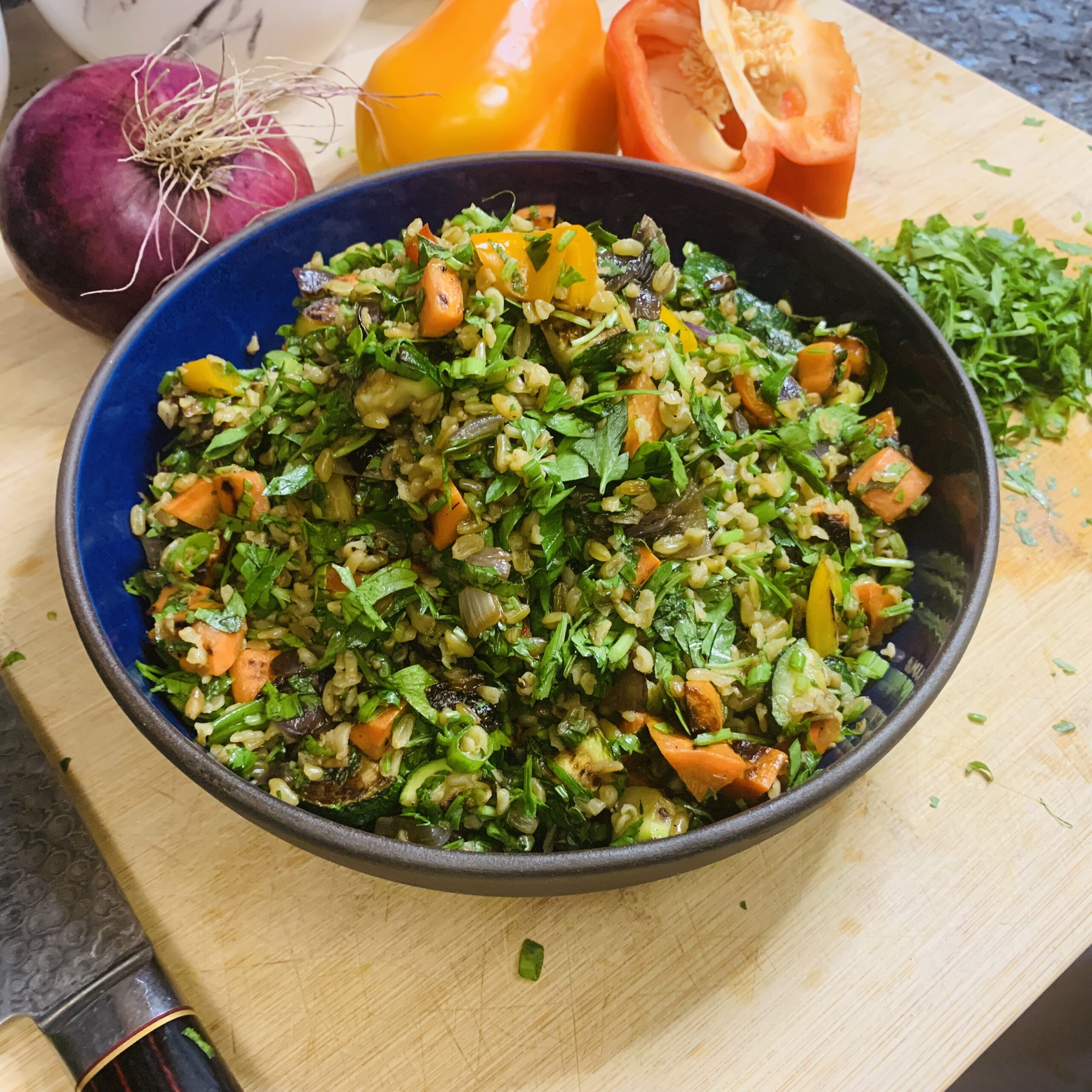 Freekeh with scorched vegetables