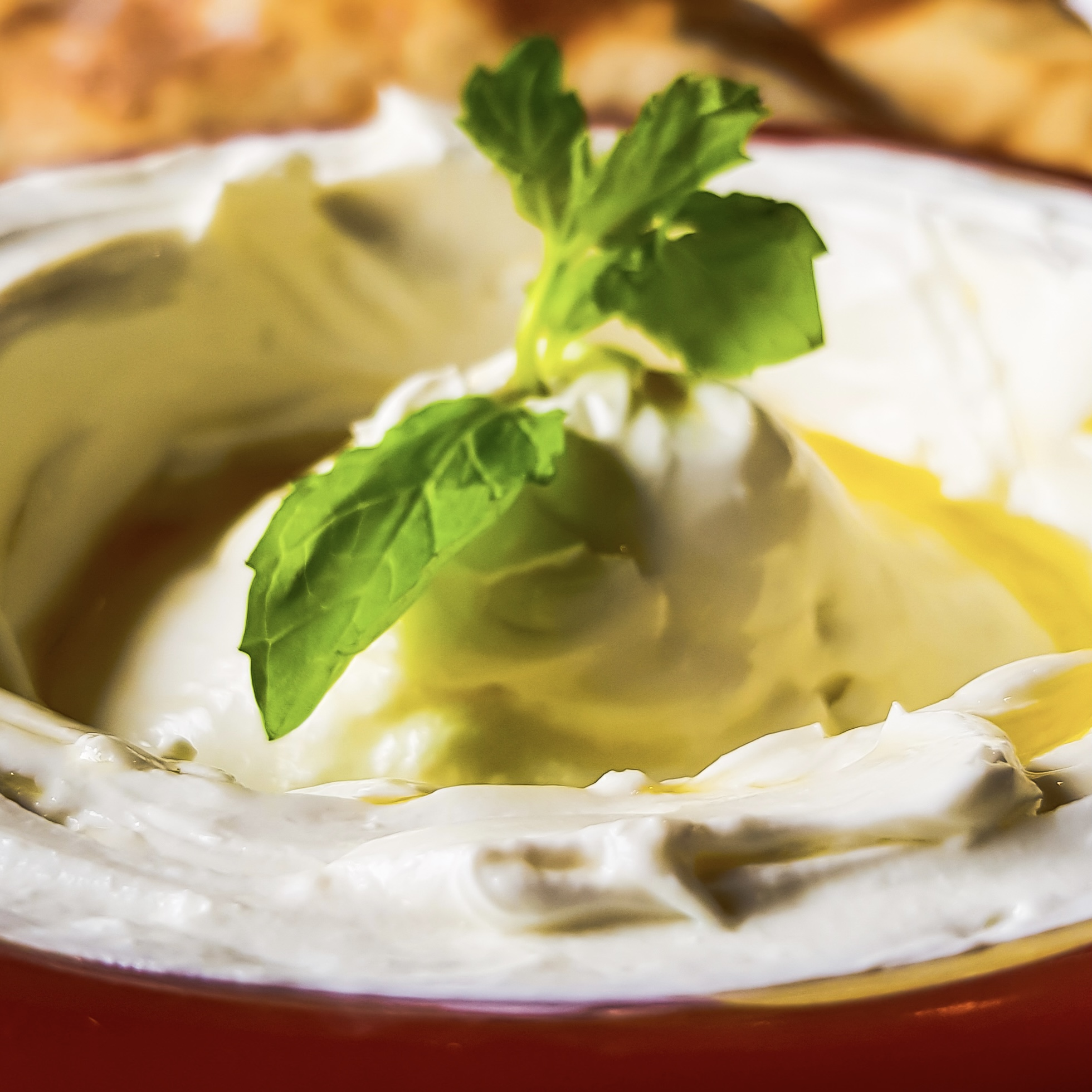 Thick yoghurt cream cheese dip, arab traditional food